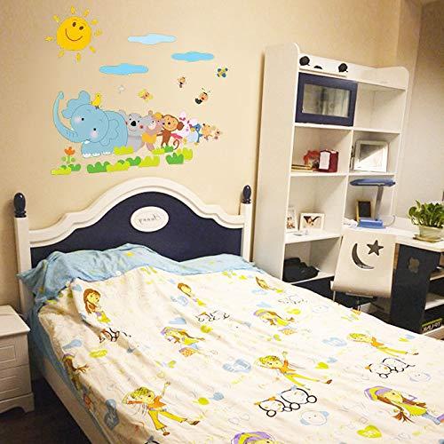 MEIWALL Tier Relais Hintergrund Treppe Glas Aufkleber Wandsticker Wandaufkleber für Kinder Kinderzimmer Schlafzimmer Wohnzimmer Küche Kinderzimmer Wand Kunst Dekor Aufkleber -