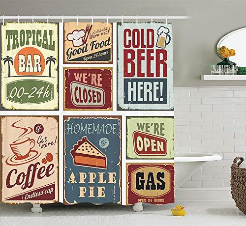 Soefipok 1950er Jahre Dekor Sammlung, Vintage-Stil Zeichen Werbung Getränke Kaffee Getränk im Alter von Glas Tropical Logo Print, Polyester Bad Duschvorhang, Burgund Elfenbein