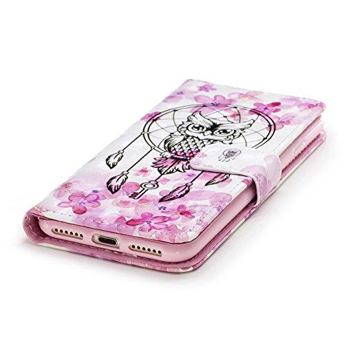 Custodia iphone 7 4.7, iphone 8 Cover pelle, Ekakashop Fashion Lusso Fantasia 3D Painted Colorate Design Folding Portafoglio Libro Wallet Bookstyle Flip PU Leather Antiurto Cover, Ultra Slim Silicone Gufo