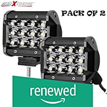 (Renewed) AllExtreme EX12FW2 12 LED Fog Light Spot Beam Waterproof Off Road Driving Lamp for Motorcycle and Cars (36W, White Light, 2 PCS)