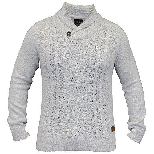Hommes Laine Mélange Sweatshirt Threadbare Tricoté Col Châle Pull Jacquard Hiver Neuf Blanc - IMV120PKA