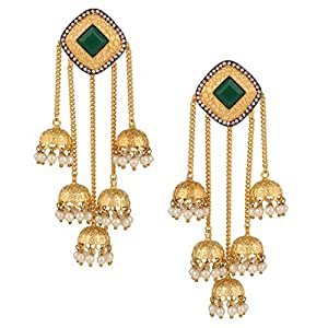 Swasti Jewels Gold Plated Pearls Jhumka Fashion Jewellery Earrings for Women
