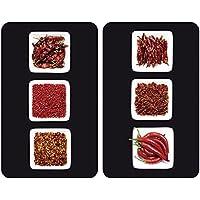Wenko Juego de Cubiertas de Cocina Universal Chili, Vidrio, Multicolor, 52x30x4,5 cm, 2 Unidades
