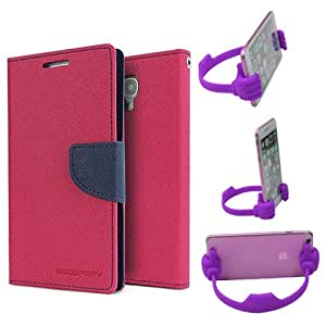 Aart Fancy Diary Card Wallet Flip Case Back Cover For HTC M9 Plus - (Pink) + Flexible Portable Mount Cradle Thumb Ok Stand Holder By Aart store