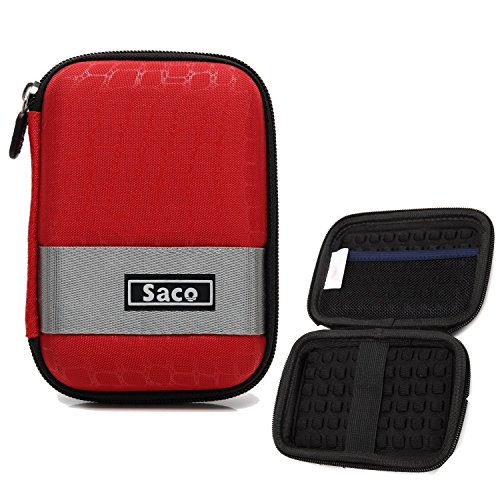 Saco External Hard Disk Hard Case Pouch Cover Bag for Seagate Backup Plus Slim 1 TB External Hard Disk (Red)