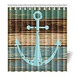 Violetpos Duschvorhang Anchor Holz Collage Bunte Hochwertige Qualität Badezimmer 120 x 180 cm