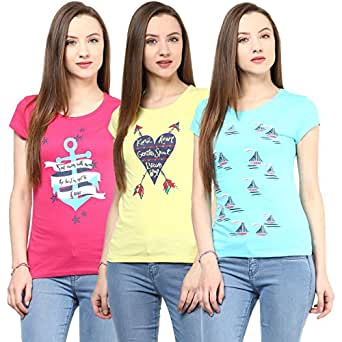 Honey By Pantaloons Women's Cotton T-Shirt (Pack of 3) (205000005566774_X-Large_Blue)