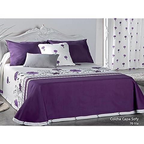 Textilhome Colcha Capa SOFY - Cama 135cm. Color Lila