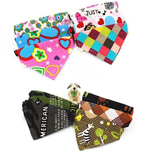 Pañuelo para perro, artístico 9 (TM) impreso ajustable, diseño de gato y perro, de algodón triángulo, varios patrones [color: al azar]