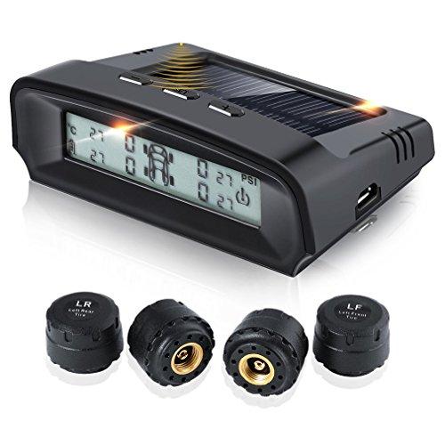 Reifendruckkontrollsystem, OCDAY TPMS intern Solarzelle Monitor Reifendruckkontrolle mit 4 Externe Sensoren(0 ~ 6 bar / 0 ~ 87 psi), automatischer Rechargeble Digital Reifendruck-und Temperatur anzeig - Bluetooth-auto-rad