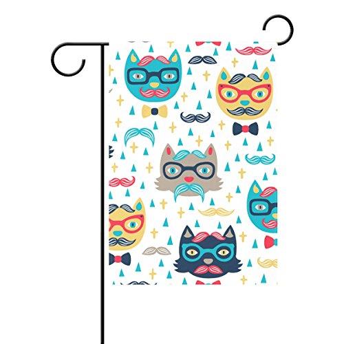 bennigiry Cartoon Katze Schnurrbart Sonnenbrille Deko Welcome Colorful Mulitcolor Bright Cute Garden Flagge, Gesponnenes Polyester, multi, 28x40(in)