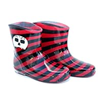 Cute Red/black striped Skull girls/boys/kids Wellies/Wellington boots Sizes 7-12