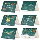 Kesoto 24 Biglietti d'auguri di Natale Verdi Biglietti di Natale di 6 Modelli con Disegni di Fiori 24 Biglietti + 24 Adesivi di Natale + 24 Buste