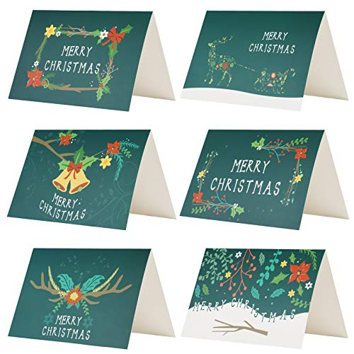Kesote 24 Biglietti d'auguri di Natale Verdi Biglietti di Natale di 6 Modelli con Disegni di Fiori 24 Biglietti + 24 Adesivi di Natale + 24 Buste