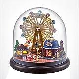 XLORDX Puppenhaus Bausatz Holz Modell Set, Süßer Hase Riesenrad Eiswagen, Spielzeug für Kinder, Mini Diorama Handgefertigt mit Staubschutz und Licht Zubehör Blumen Haus