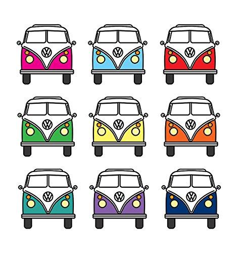 Offizielles Lizenzprodukt Volkswagen VW Campervan Untersetzer-bunten T1Set von 4(10,5x 10,5cm)