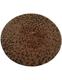 fba945ded40e0 Targogo Boina Para Mujer Leopard Point Fluffy Estilo Classic Ocasional  Elegante Francés Gorra Plana Otoño…