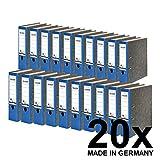 Falken 20er Pack Recycling-Ordner Wolkenmarmor. Das Original - Made in Germany. 8 cm breit DIN A4 blauer Rücken Ringordner Aktenordner Briefordner Büroordner Pappordner Blauer Engel