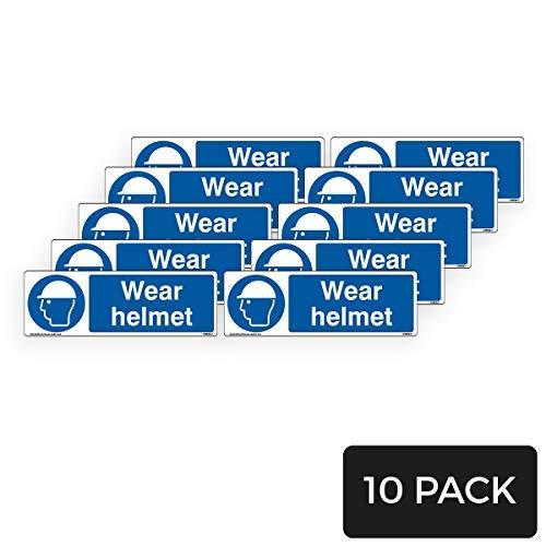 Segnale di sicurezza obbligatorio per la protezione della testa del casco, confezione da 10, 600 mm x 200 mm