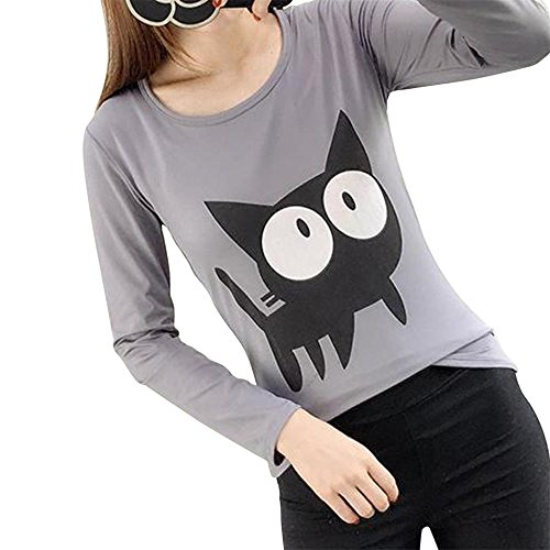 FORH Damen warm übergangs langarmshirt cute Karikatur Tier Drucken T-shirt Mode Slim fit blusen Chic Einfarbig weich Zuhause tops Ultra Lose Elastic Onesize (Freie Größe, Grau) (Tier Henley)