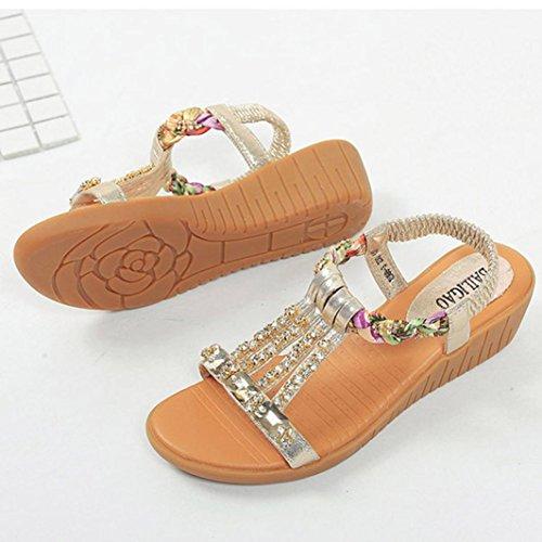 Webla Frau Sommer Sandalen Rhinestone Flats Platform Wedges Schuhe Flip Flops Gold
