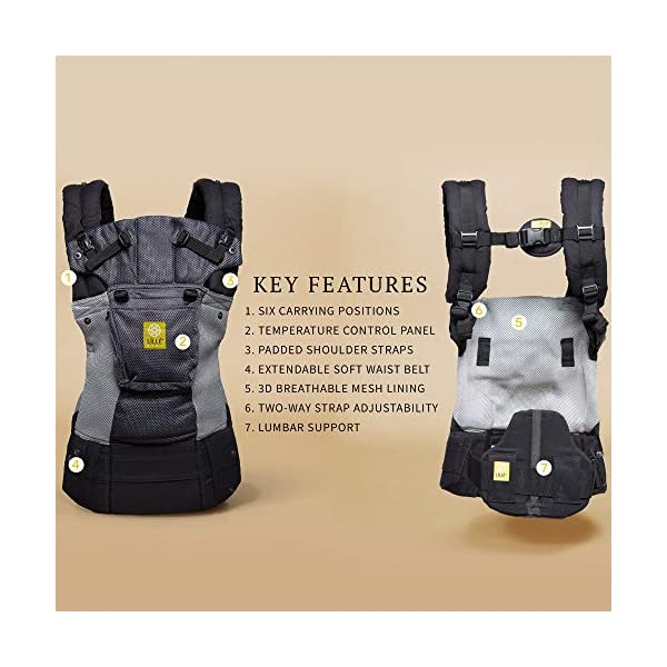 LÍLLÉbaby  Complete Airflow 6-in-1 Baby Carrier, Grey/Silver Lillebaby Made from breathable mesh fabric to help keep parent and child cool and comfortable and with 6 carrying positions - Foetal, infant inward, outward, toddler inward, hip, back - The only carrier you'll ever need! Suitable from 3.2- 20kg (birth to approx. 4 years old), providing extended comfortable use for parent and child with no additional infant support required for new-borns - the ergonomic adjustable seat is acknowledged as 'hip-healthy' by the International Hip Dysplasia Institute Unique spacious head support with elasticated straps - soothes infants with gentle lulling motion and provides excellent support as children grow 3