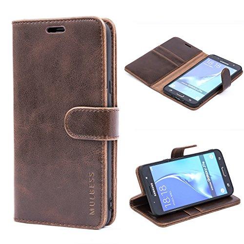 Mulbess Ledertasche im Ständer Book Case / Kartenfach für Samsung Galaxy J7 (2016) Tasche Hülle Leder Etui,Vintage Braun