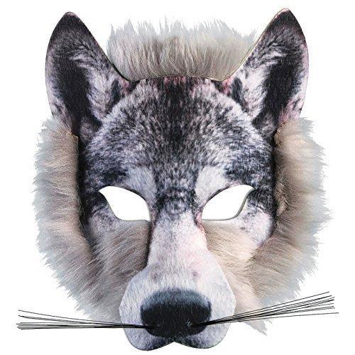 nder Realistische Kunstpelz Wolf Gesicht Maske Pack Animal Jungle Werwolf Buch Woche Kostüm Gesichtsmaske ()