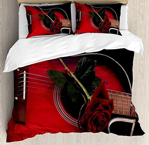 Rot und Schwarz 3 Stück Bettwäsche Bettbezug Set, spanischer Musiker Portugal Gitarre mit Romantik Thema Love Valentine 's Rose, 3 Stück Tröster / Qulit Cover Set mit 2 Kissenbezügen, Ruby und Weiß (Rose Schwarz Rote Und Set Tröster)