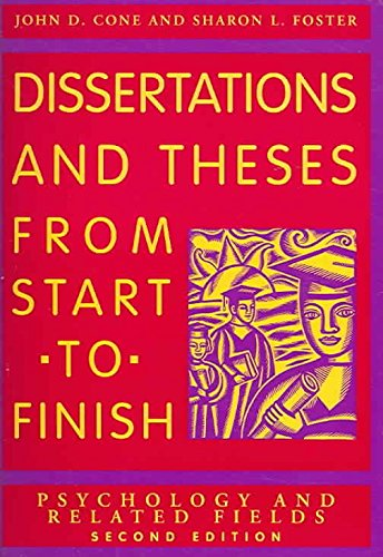 [Dissertations and Theses from Start to Finish: Psychology and Related Fields] (By: John D. Cone) [published: May, 2006]