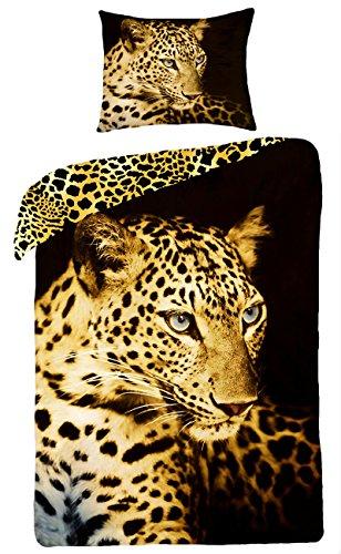 Mini&Maxi - Biancheria da letto composta da copri-piumone da 160 x 200 cm, federa 70 x 80 cm, per camera ragazzi, 100% cotone, motivo: leopardo