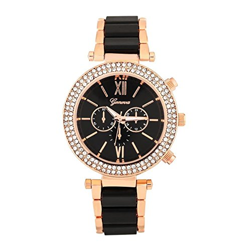 Montres pour les femmes, alliage de Lady strass décoration bracelet à quartz cadran rond montre analogique montre-bracelet(Black)