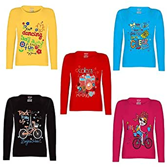 45a010fe138 Kiddeo Girl s Cotton Full Sleeve T-Shirts - Pack of 5  Amazon.in ...