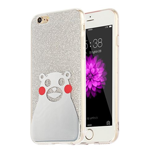 "MOONCASE iPhone 6s Coque, Bling Glitter Motif Etui TPU Silicone Antichoc Housse Case pour iPhone 6 / iPhone 6s (4.7"") (Ours - Or) Ours - Argent"