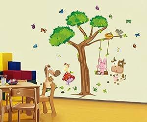 ufengke cartoon tiere nette kuh flusspferd und baum wandsticker kinderzimmer babyzimmer. Black Bedroom Furniture Sets. Home Design Ideas