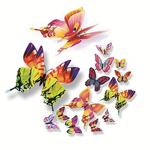 Yallylunn 3D Butterflies Wall Stickers Home Decor Art Wall Decals Nicht Giftig Umweltschutz Wasserdicht Wasserfest Ziegelstein Wandtattoo 12Pc