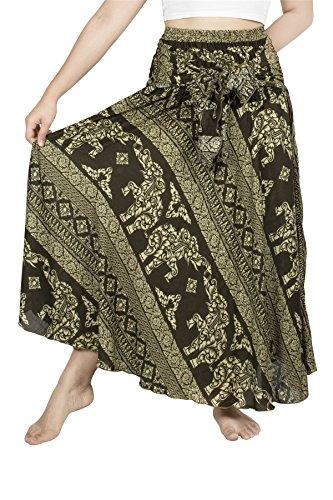 Lofbaz Damen Bohemien Hüfte Langer Rock Süße Hippie Style Blumen - Elephant 8 Grün - 2XL (Rock Langer Zigeuner)