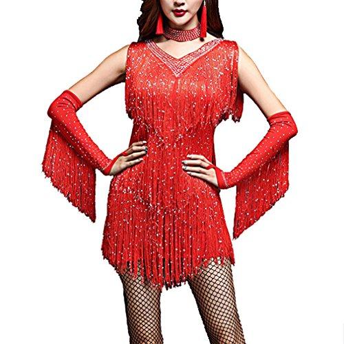 Pailletten & Flapper Kostüm Gold Fringe - YANXH Clothing V-Ausschnitt 1920Er Jahre Pailletten Fringe Charleston Flapper Dance Kleider Kostüme,Red,M