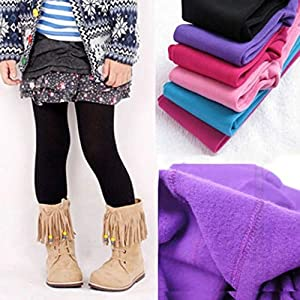 TENDYCOCO Mädchen Winter warm samt Dicke elastische Strumpfhosen Leggings für 3-5 Jahre (lila)
