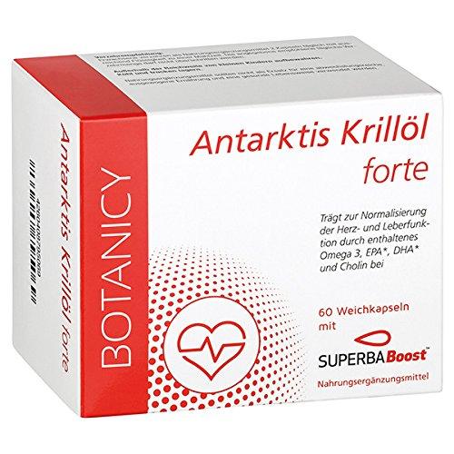 Hochdosiertes Antarktis Krillöl forte Omega 3 mit SuperbaBoost, Omega-3-Fettsäuren (DHA & EPA), mit Astaxanthin und Cholin, bessere Bioverfügbarkeit als Fischöl-Kapseln**, 60 Kapseln (Monatspack)