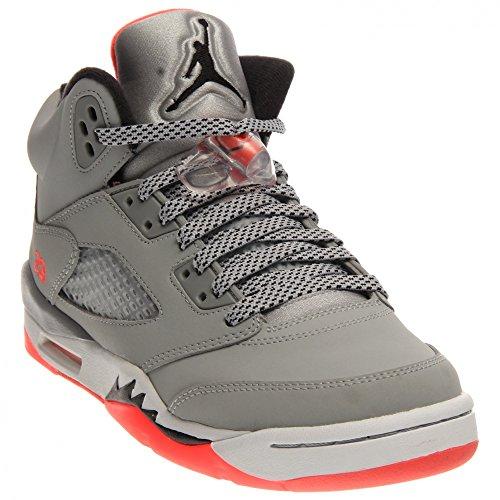 Nike Air Jordan 5 Retro Gg, Scarpe da Corsa Bambina, Verde Grigio / Nero / Rosso / Bianco (Wolf Grey / Black-Hot Lava-White)