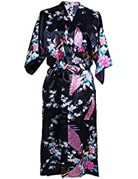 Elite99 Women s Sexy Robes Peacock and Blossoms Kimono Satin Nightwear  Dress Long f49532e39
