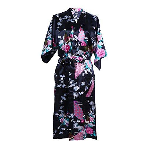 0e4250cd65 Elite99 Women s Sexy Robes Peacock and Blossoms Kimono Satin Nightwear Dress  Long (M