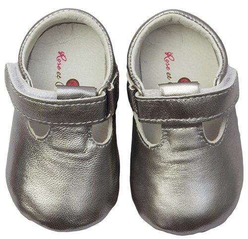 Rose & Chocolat RCM 1039 1824 Chaussures Premiers Pas T Strap Gris Argenté