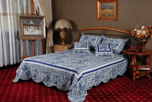 Tache Home Fashion Paisley Blau Bell Garden Tagesdecke Quilt Set, blau/weiß/Blumenmuster, King/CALIFORNIA King