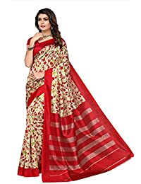 Fabwomen Sarees Floral Print Multicolor Kalamkari Poly Art Silk Traditional Festive Wear Women's Saree/Sari.