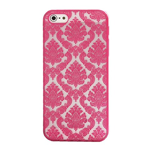 Coque iPhone 6S, Coque iPhone 6, Aprtwin® Baroque Retro Court Lace Pattern Texture Etui Housse Téléphone Couverture de Hard Plastique Coque pour iPhone 6/6S (4.7 Pouce)[Rouge] Rouge