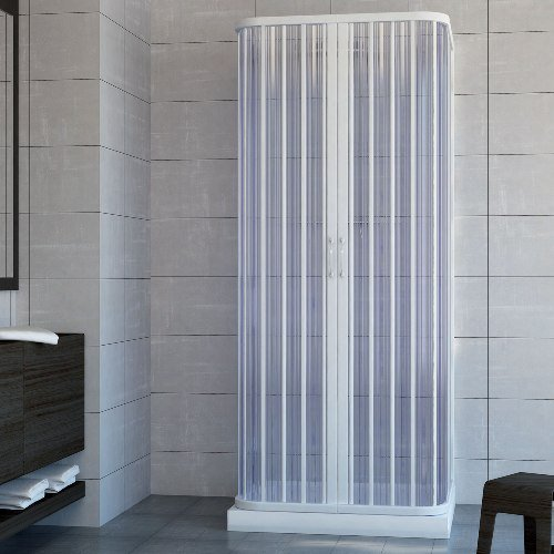 Box doccia cabina 100x100 parete fissa tre lati 3 a soffietto in Pvc