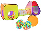 Kinderzelt Spielzelt + Tunnel + 200 Bälle Krabbeltunnel Spielhaus #2880