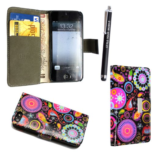 GSDSTYLEYOURMOBILE {TM} APPLE IPHONE 5 5S VARIOUS DESIGN CARD POCKET HOLDER PU LEATHER BOOK FLIP CASE COVER POUCH + STYLUS DARK CIRCLE JELLY FISH BOOK